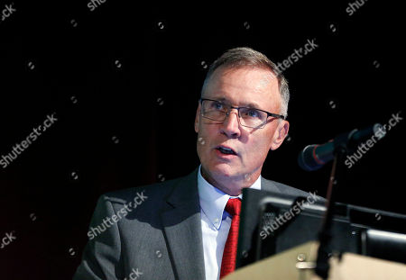 Stock Photo of Joe McQuaid, publisher of the New Hampshire Union Leader, speaks at Saint Anselm College, in Manchester, N.H., as he introduces U.S. Sen. Susan Collins, R-Maine