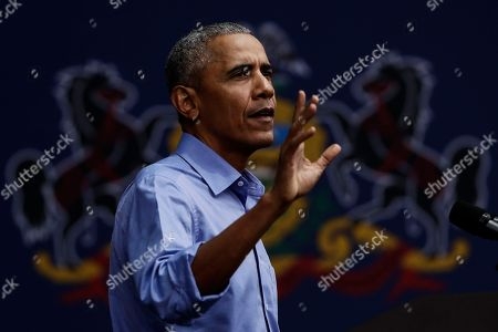 Former President Barack Obama speaks as he campaigns in support of Pennsylvania candidates in Philadelphia