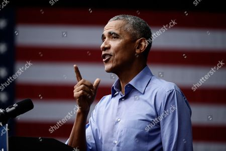 Stock Photo of Former President Barack Obama speaks as he campaigns in support of Pennsylvania candidates in Philadelphia