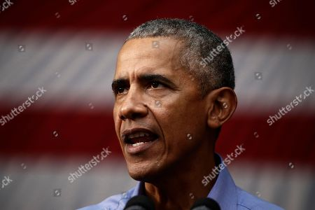 Stock Image of Former President Barack Obama speaks as he campaigns in support of Pennsylvania candidates in Philadelphia