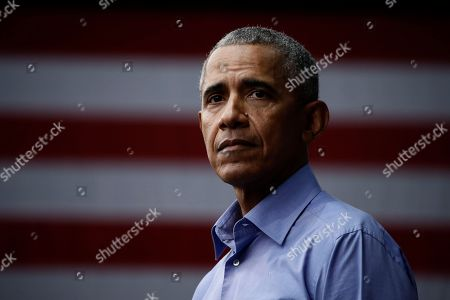 Stock Picture of Former President Barack Obama speaks as he campaigns in support of Pennsylvania candidates in Philadelphia