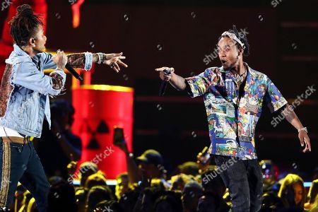 Swae Lee, Slim Jxmmi. Swae Lee, left, and Slim Jxmmi of the group Rae Sremmurd perform at the 2018 iHeartRadio Music Festival Day 1 held at T-Mobile Arena, in Las Vegas