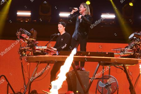 Stock Picture of Kygo, Conrad Sewell. Kygo, left, and Conrad Sewell performs at the 2018 iHeartRadio Music Festival Day 1 held at T-Mobile Arena, in Las Vegas