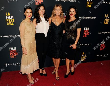 """Tara Grammy, Rita Wilson, Shohreh Aghdashloo, Sara Zandieh. Sara Zandieh, second from left, director/co-writer of """"Simple Wedding,"""" poses with cast members, from left, Tara Grammy, Rita Wilson and Shohreh Aghdashloo at the premiere of the film at the 2018 Los Angeles Film Festival, in Culver City, Calif. Wilson and Aghdashloo also served as executive producers on the film"""