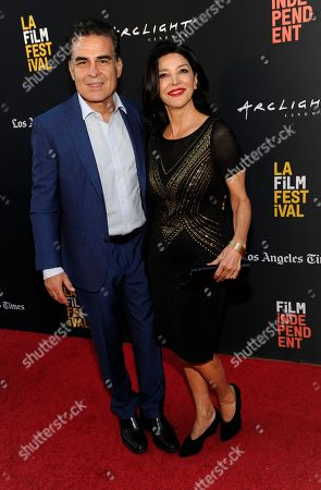 "Shohreh Aghdashloo, Houshang Touzie. Shohreh Aghdashloo, right, and Houshang Touzie, cast members in ""Simple Wedding,"" pose together at the premiere of the film at the 2018 Los Angeles Film Festival, in Culver City, Calif"