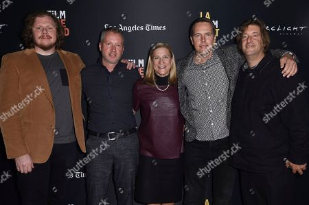 "Ben York Jones, Zilvinas Naujokas, Ruta Sepetys, Marius A. Markevicius, Jonathan Schwartz. Ben York Jones, from left, Zilvinas Naujokas, Ruta Sepetys, Marius A. Markevicius and Jonathan Schwartz attend the world premiere of ""Ashes in the Snow"" at the LA Film Festival, in Culver City, Calif"