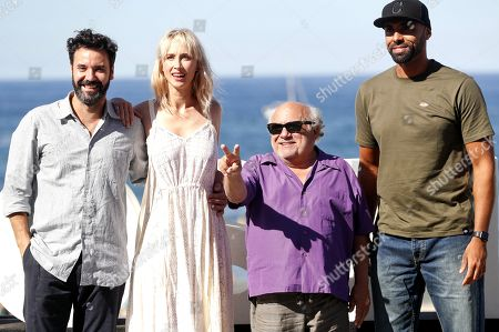 US actor and film director Danny DeVito (2-R) actors Miquel Fernandez (L), Ingrid Garcia-Johnnson (2-L) and singer 'El Chojin' (R) pose for the photographers during the presentation of the film 'Smallfoot' at the 66th edition of San Sebastian international Film Festival (SSIFF), in San Sebastian, Basque Country, northern Spain, 22 September 2018. The SSIFF will be held from 21 to 29 September 2018.