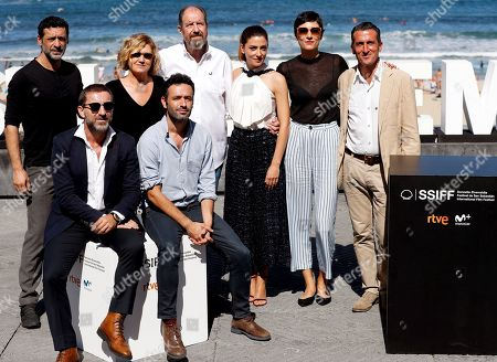 Spanish director Rodrigo Sorogoyen (front,R) poses with actors and cast members Antonio de la Torre (front, L), Barbara Lennie (3R), Nacho Fresneda (L), Ana Wagener (2L), Luis Zahera (R) and Josep María Pou, among others, during the presentation of the film 'El Reino' (The Kingdom) at the 66th edition of San Sebastian international Film Festival (SSIFF), in San Sebastian, Basque Country, northern Spain, 22 September 2018. The SSIFF will be held from 21 to 29 September 2018.
