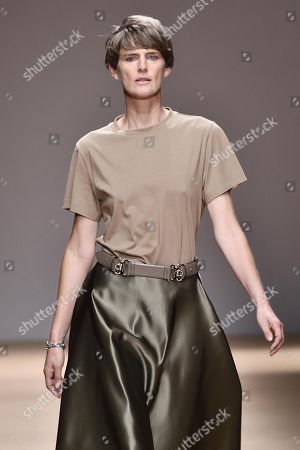 British model Stella Tennant presents a creation by Salvatore Ferragamo during the Milan Fashion Week, in Milan, Italy, 22 September 2018. The Spring-Summer 2019 Women's collections are presented at the Milano Moda Donna from 19 to 24 September.