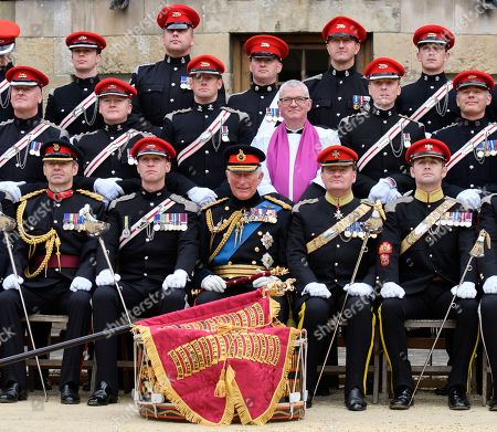 Stock Picture of Prince Charles and members of the Queen's Own Yeomanry