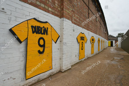 A general view of the Abbey Stadium - Dion Dublin graffiti