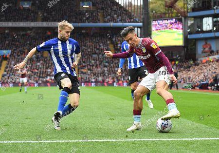 Ashley Baker of Sheffield Wednesday and Jack Grealish of Aston Villa