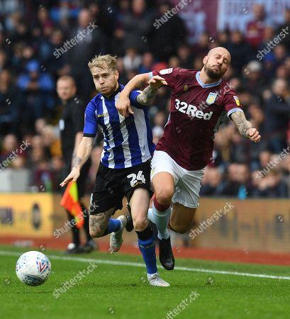 Ashley Baker of Sheffield Wednesday and Alan Hutton of Aston Villa