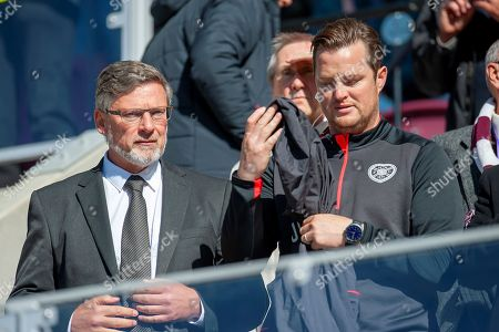 Heart of Midlothian manager Craig Levein (left) and coach Jon Daly (right) in the stand before the Ladbrokes Scottish Premiership match between Heart of Midlothian and Livingston at Tynecastle Stadium, Gorgie