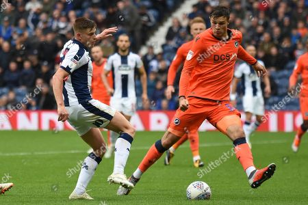 West Bromwich Albion midfielder Harvey Barnes (15), on loan from Leicester City shoots at goal blocked by Millwall defender Jake Cooper (5) during the EFL Sky Bet Championship match between West Bromwich Albion and Millwall at The Hawthorns, West Bromwich