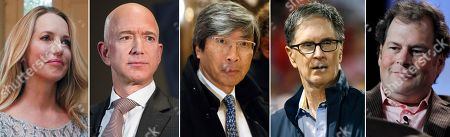 S shows from left, Laurene Powell Jobs, who has a majority stake in The Atlantic, Jeff Bezos, who bought The Washington Post in 2013, Patrick Soon-Shiong, who bought The Los Angeles Times in 2018, John Henry, who bought the Boston Globe in 2013, and Marc Benioff, who bought Time Magazine. For the billionaires ownership of storied magazines or newspapers provides an alluring combination of a trophy property, a high-profile opportunity to demonstrate their business acumen and a chance to display highbrow civic-mindedness