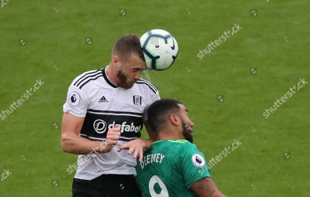 Stock Image of Calum Chambers of Fulham and Troy Deeney of Watford