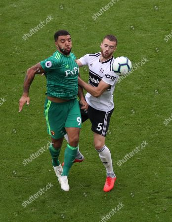 Troy Deeney of Watford and Calum Chambers of Fulham