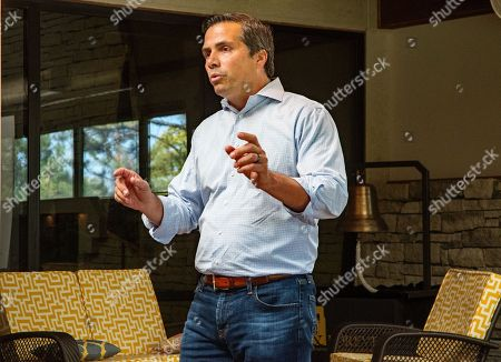 Independent Gubernatorial candidate Greg Orman a businessman in the private sector is the guest lecturer for Dr. John Barnett's social sciences class on the campus of Emporia State University
