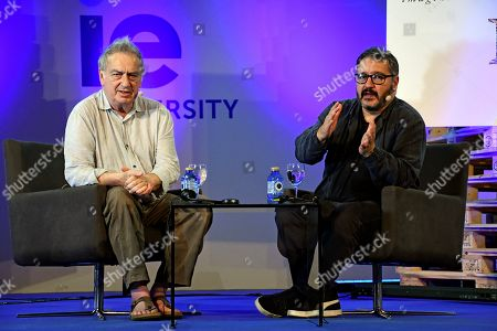 British film director Stephen Frears (L) and 'Hay Festival' director Peter Florence (R) during 'Hay Literatura' literature festival in Segovia, Spain, 22 September 2018.