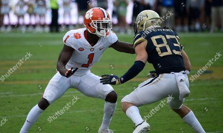 Clemson cornerback Trayvon Mullen (1) works against Georgia Tech wide receiver Brad Stewart (83) during the second half of an NCAA college football game, in Atlanta