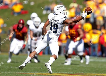 Akron wide receiver Andre Williams looks to make a reception during the second half of an NCAA college football game against Iowa State, in Ames, Iowa. Iowa State won 26-13