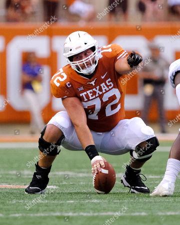 Elijah Rodriguez #72 of the Texas Longhorns in action against the TCU Horned Frogs at Darrell K Royal-Texas Memorial Stadium in Austin Texas. Texas defeats TCU 31-16