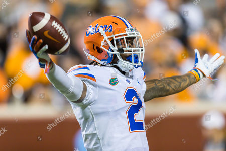 Brad Stewart Jr. #2 of the Florida Gators celebrates after making an interception during the NCAA football game between the University of Tennessee Volunteers and the University of Florida Gators in Knoxville, TN Tim Gangloff/CSM