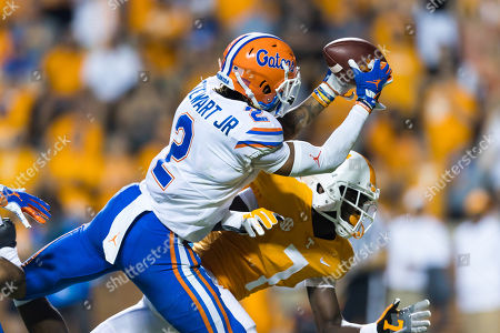 Brad Stewart Jr. #2 of the Florida Gators makes an interception during the NCAA football game between the University of Tennessee Volunteers and the University of Florida Gators in Knoxville, TN Tim Gangloff/CSM