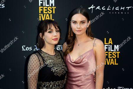 "Hannah Marks, Liana Liberato. Hannah Marks, left, and Liana Liberato attend the World Premiere of ""Banana Split"" at the 2018 Los Angeles Film Festival, in Culver City, Calif"