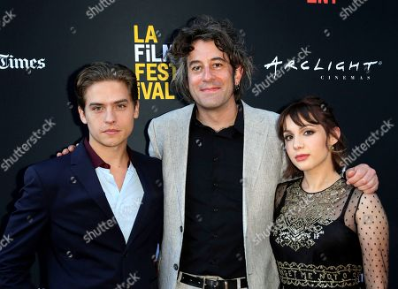 "Dylan Sprouse, Benjamin Kasulke, Hannah Marks. Dylan Sprouse, from left, Benjamin Kasulke and Hannah Marks attend the World Premiere of ""Banana Split"" at the 2018 Los Angeles Film Festival, in Culver City, Calif"