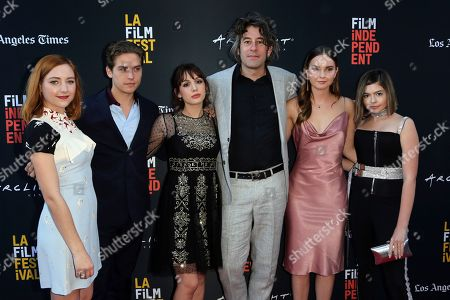 "Haley Ramm, Dylan Sprouse, Hannah Marks, Benjamin Kasulke, Liana Liberato, Addison Riecke. Haley Ramm, from left, Dylan Sprouse, Hannah Marks, director Benjamin Kasulke, Liana Liberato and Addison Riecke, all members of the cast attend the World Premiere of ""Banana Split"" at the 2018 Los Angeles Film Festival, in Culver City, Calif"