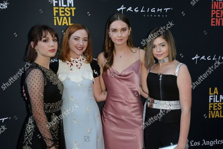 "Hannah Marks, Haley Ramm, Liana Liberato, Addison Riecke. Hannah Marks, from left, Haley Ramm, Liana Liberato and Addison Riecke attend the World Premiere of ""Banana Split"" at the 2018 Los Angeles Film Festival, in Culver City, Calif"