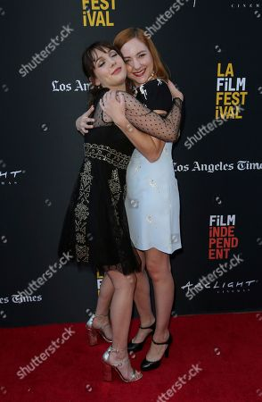 "Hannah Marks, Haley Ramm. Hannah Marks, left, and Haley Ramm hug at the World Premiere of ""Banana Split"" at the 2018 Los Angeles Film Festival, in Culver City, Calif"