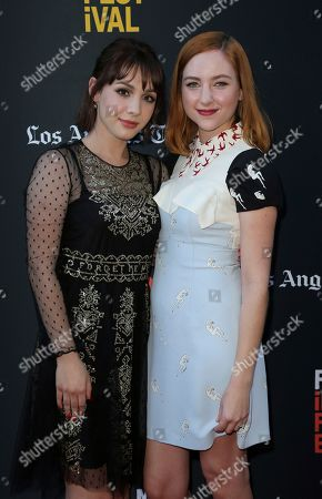"Hannah Marks, Haley Ramm. Hannah Marks, left, and Haley Ramm attend the World Premiere of ""Banana Split"" at the 2018 Los Angeles Film Festival, in Culver City, Calif"
