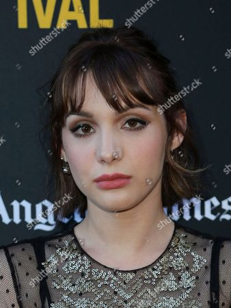 "Hannah Marks attends the World Premiere of ""Banana Split"" at the 2018 Los Angeles Film Festival, in Culver City, Calif"