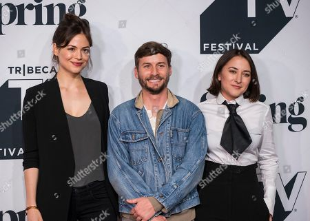 "Stock Photo of Conor Leslie, from left, Joshua Thurston, and Zelda Williams attend the screening of ""Shrimp"" during the Tribeca TV Festival at Spring Studios, in New York"
