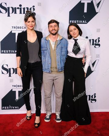 "Conor Leslie, from left, Joshua Thurston, and Zelda Williams attend the screening of ""Shrimp"" during the Tribeca TV Festival at Spring Studios, in New York"