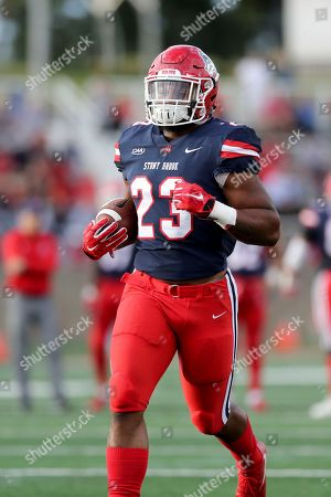 Stony Brook's Jordan Gowns #23 warms up against Richmond before an NCAA college football game on in Stony Brook, NY. Stony Brook won the game