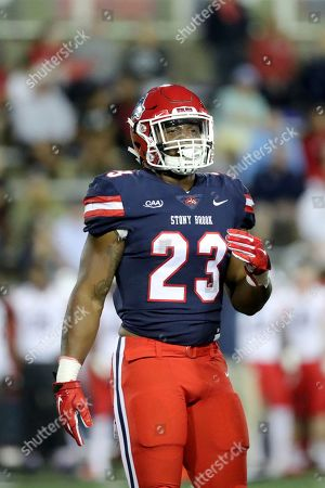 Stony Brook's Jordan Gowns #23 is seen against Richmond during an NCAA college football game on in Stony Brook, NY. Stony Brook won the game