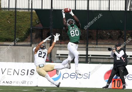 Portland State Vikings wide receiver Emmanuel Daigbe (80) takes down a high pass over Montana State Bobcats cornerback Damien Washington (27) during the NCAA football game between the Portland State Vikings and the Montana State Bobcats Hillsboro Stadium, Hillsboro, OR. Larry C