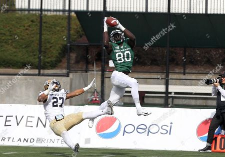Stock Image of Portland State Vikings wide receiver Emmanuel Daigbe (80) takes down a high pass over Montana State Bobcats cornerback Damien Washington (27) during the NCAA football game between the Portland State Vikings and the Montana State Bobcats Hillsboro Stadium, Hillsboro, OR. Larry C