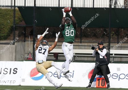 Stock Photo of Portland State Vikings wide receiver Emmanuel Daigbe (80) takes down a high pass over Montana State Bobcats cornerback Damien Washington (27) during the NCAA football game between the Portland State Vikings and the Montana State Bobcats Hillsboro Stadium, Hillsboro, OR. Larry C