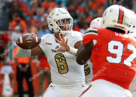 FIU Panthers quarterback Christian Alexander (8) in action during the college football game between the FIU Panthers and the Miami Hurricanes at the Hard Rock Stadium in Miami Gardens, Florida. The Hurricanes won 31-17