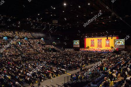 Tibetan spiritual leader the Dalai Lama, Tenzin Gyatso, speaks at the Hallenstadion in Zurich, Switzerland, 23 September 2018