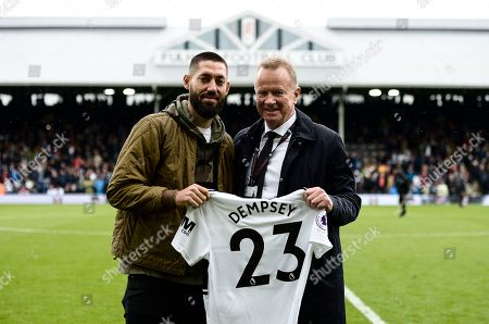 Commercial and Marketing Clint Dempsey interviewed on the pitch at half time