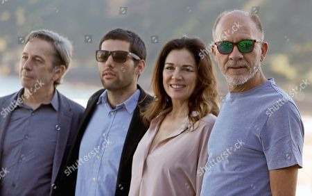 Stock Image of Argentine director Benjamin Naishtat (2-L) poses with actors and cast members Alfredo Castro (L), Dario Grandinetti (R) and Andrea Frigerio during the presentation of his film 'Rojo' (Red) at the 66th edition of San Sebastian international Film Festival (SSIFF), in San Sebastian, Basque Country, Spain, 23 September 2018. The 66th edition of the SSIFF runs from 21 to 29 September.