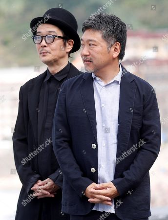 Japanese film maker Hirokazu Koreeda (R) actor and cast member Lily Franky (L) pose for the photographers during the presentation of the film 'Manbiki Kazoku' at the 66th edition of San Sebastian international Film Festival (SSIFF), in San Sebastian, Basque Country, northern Spain, 23 September 2018. The SSIFF will be held from 21 to 29 September 2018.