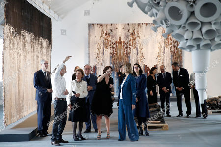 Queen of Norway Sonja Haraldsen (3-L) and French Culture Minister Francoise Nyssen (C) visit the 'Forces de la Nature' (Force of Nature) exhibition at Ceramic Museum in Sevres, near Paris, France, 23 September 2018.