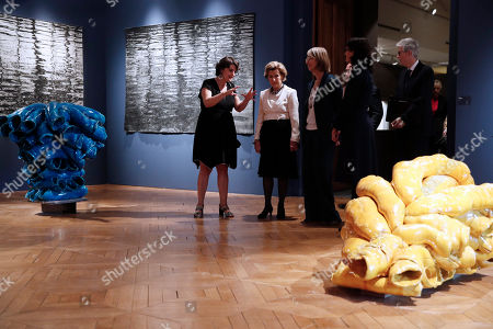 Queen of Norway Sonja Haraldsen (C) and French Culture Minister Francoise Nyssen (C-R) visit the 'Forces de la Nature' (Force of Nature) exhibition at Ceramic Museum in Sevres, near Paris, France, 23 September 2018.